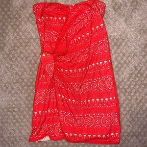 Strapless Coral/Red Bodycon Dress